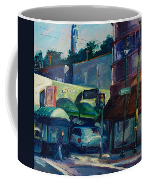 Cityscape Coffee Mug featuring the painting North Beach by Rick Nederlof