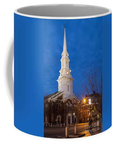 Portsmouth New Hampshire Coffee Mug featuring the photograph North Church At Twilight, Portsmouth, New Hampshire by Dawna Moore Photography
