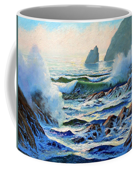 Seascape Coffee Mug featuring the painting North Coast Surf by Frank Wilson