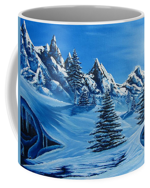 Blue Winter Landscape Canvas Prints Painting Nature Mountains Canvas Prints Blue Ice Cave Painting Prints Blue Mountains Paintings Monochromatic Blue Landscape Paintings Bizarre Paintings Strange Paintings Erie Paintings Odd Paintings Odd Art Sky Face North Face Of Winter Weird Paintings Blue Pine Trees Blue Spruce Paintings Blue Trees Blue Art Fine Art Blue Peaks Blue Range Blue Snow Blue Snowscapes Blue Winterscapes Coldscapes Blue Sky Paintings Coffee Mug featuring the painting North Face by Joshua Bales