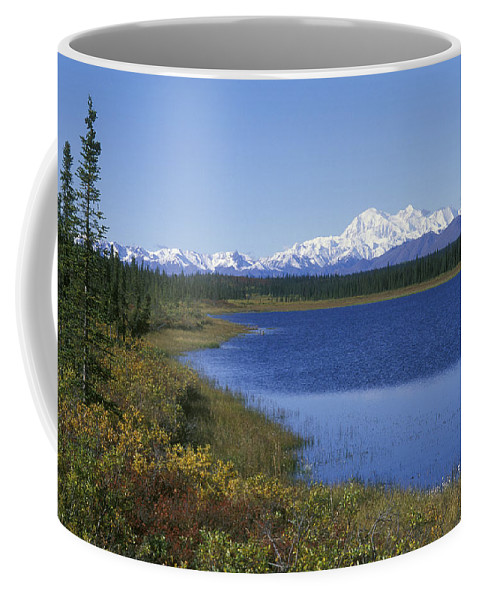 Mount Mckinley Coffee Mug featuring the photograph North Face Of Mount Mckinley, Lake by Rich Reid