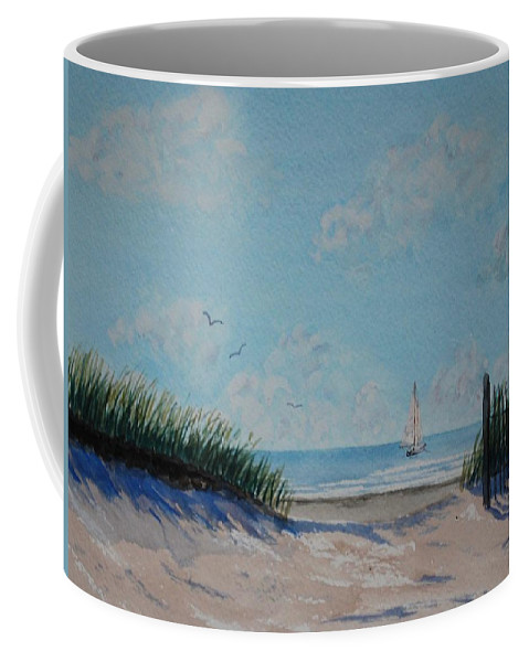 Seascape Coffee Mug featuring the painting North Forest Beach by Stanton Allaben