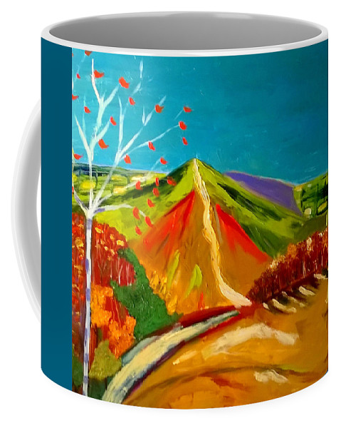 Pallette Knife Impasto Oil Painting Landscape Colourist David Hockney Coffee Mug featuring the painting North Hill Malvern in Autumn by Rusty Gladdish