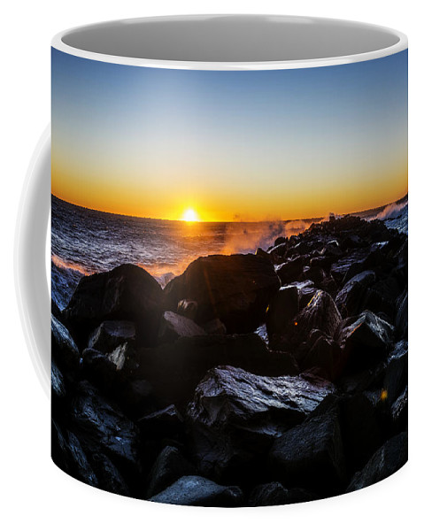 Sunset North Jetty Ocean Shores Washington State Beach Beautiful Sand Wilderness Outside Pnw Outdoors Pacific Northwest Explore View Views Quest Live Authentic Outbound Coffee Mug featuring the photograph North Jetty by Pelo Blanco Photo