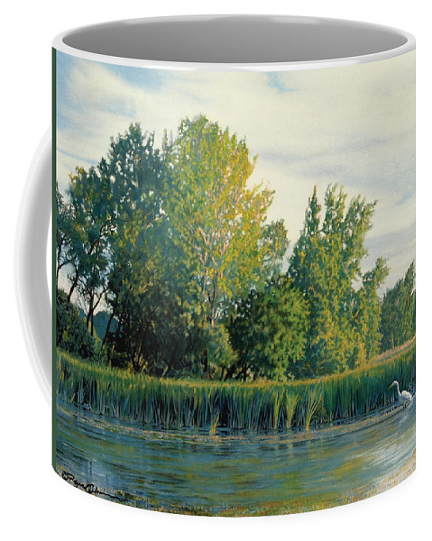 Great Egret Coffee Mug featuring the drawing North of the Grade-Great Egret by Bruce Morrison