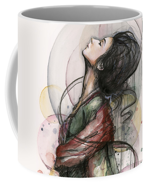 Watercolor Coffee Mug featuring the painting Beautiful Lady by Olga Shvartsur