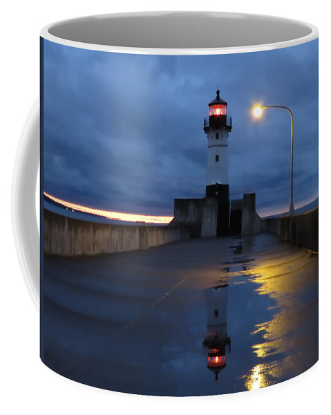 Lake Superior Coffee Mug featuring the photograph North Pier Reflections by Alison Gimpel