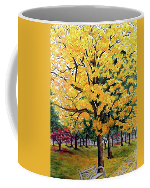 Yellow Poui Coffee Mug featuring the pastel North Savannah Poui by Karin Dawn Kelshall- Best