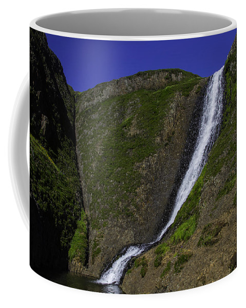 North Table Mountain Ecological Reserve Falls Coffee Mug featuring the photograph North Table Mountain Spring Falls by Garry Gay