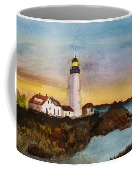 Light House Coffee Mug featuring the painting North Truro Light House Cape Cod by Donna Walsh