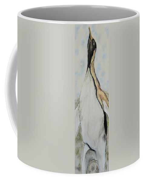 Penguin Coffee Mug featuring the drawing Northern Bliss by Cori Solomon