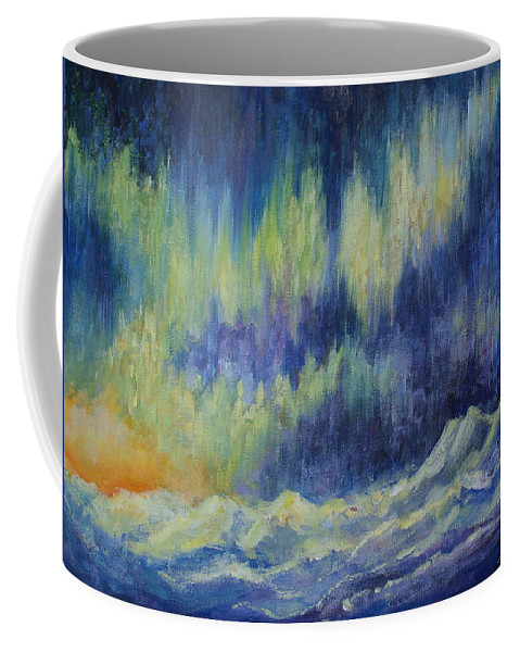 Northern Lights Coffee Mug featuring the painting Northern Experience by Joanne Smoley