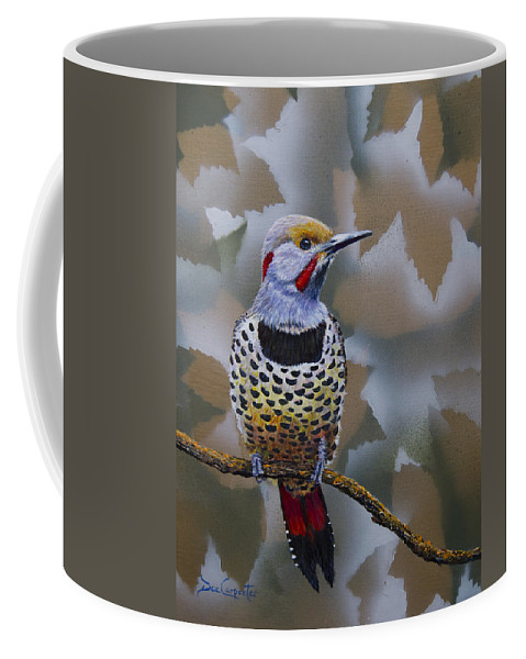 Flicker Coffee Mug featuring the painting Northern Flicker by Dee Carpenter