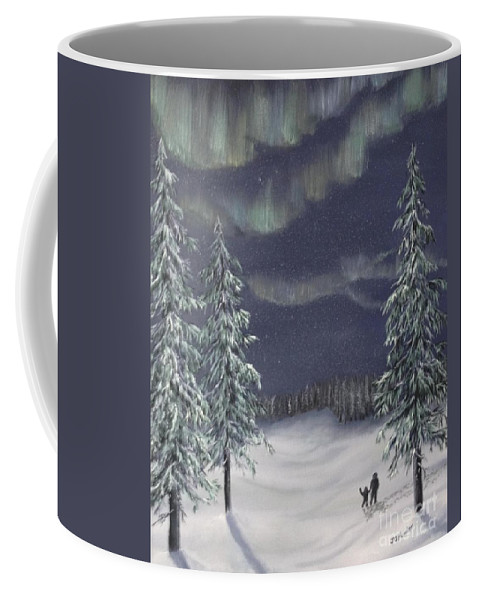 Landscape Coffee Mug featuring the painting Northern Lights 2 by J O Huppler
