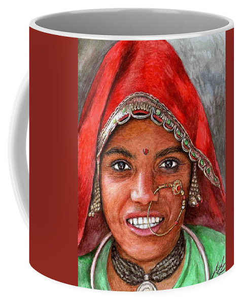 Woma Coffee Mug featuring the painting Northindian Woman by Nicole Zeug