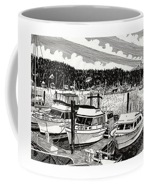 Yacht Portraits Coffee Mug featuring the drawing Gig Harbor Yacht Moorage by Jack Pumphrey