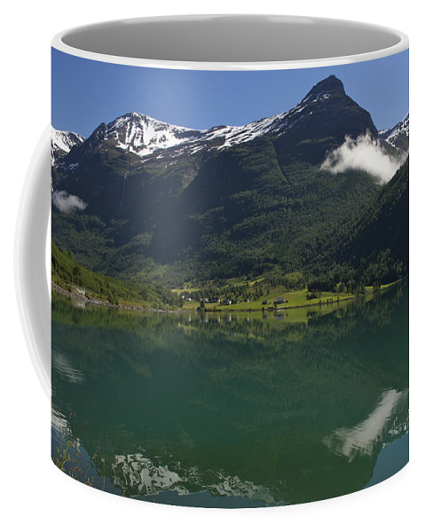 Nobody Coffee Mug featuring the photograph Norway, Briksdal Glacier At Jostedal by Keenpress