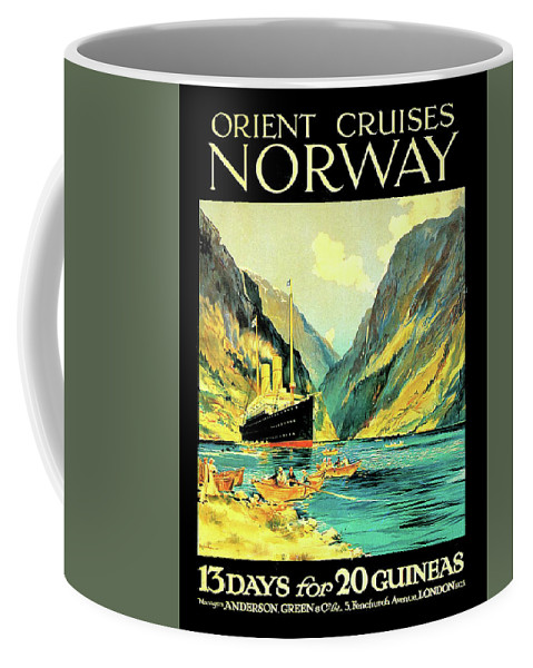 Norway Coffee Mug featuring the digital art Norway Orient Cruises, Vintage Travel Poster by Long Shot
