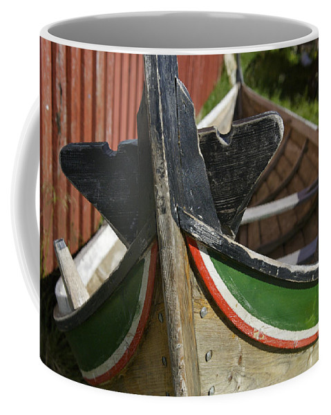 Absence Coffee Mug featuring the photograph Norway, Reine, Boat In Fishing Village by Keenpress