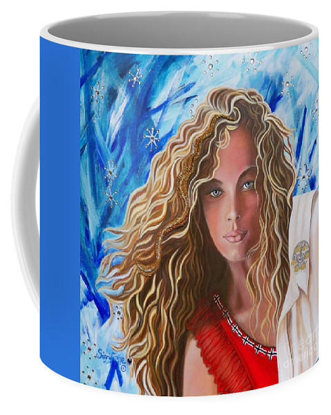 Norwegian Pretty Girl Coffee Mug featuring the painting Navigating Norwegian Girl       From The Attitude Girls by Sigrid Tune