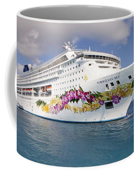 Great Stirrup Cay Coffee Mug featuring the photograph Norwegian Sky Cruiseship by Anthony Totah