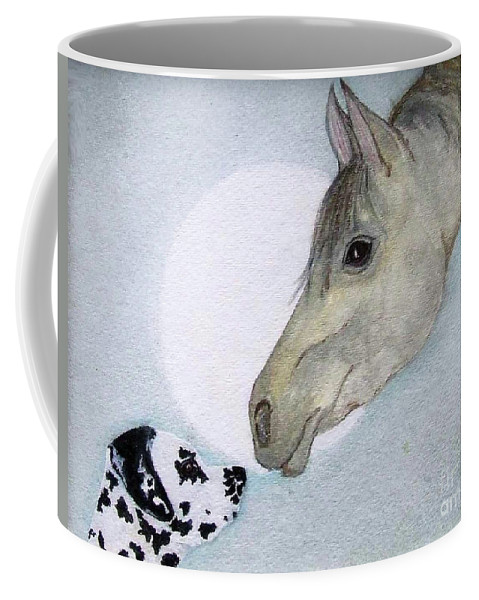 Dog Coffee Mug featuring the painting Nose 2 Nose by Jacki McGovern