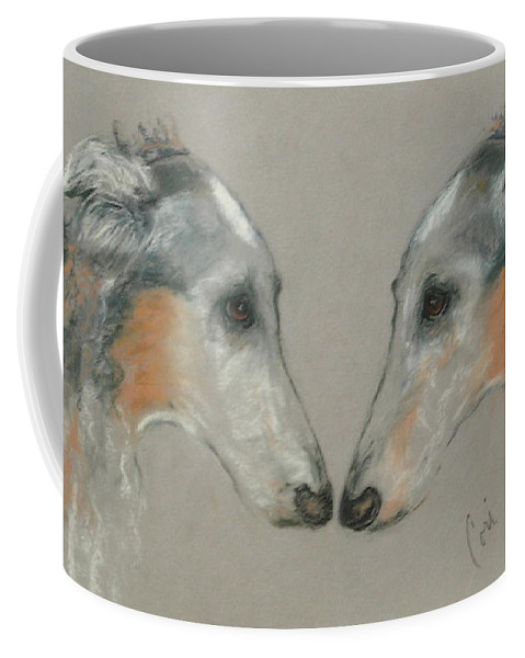 Dog Coffee Mug featuring the drawing Nose To Nose by Cori Solomon