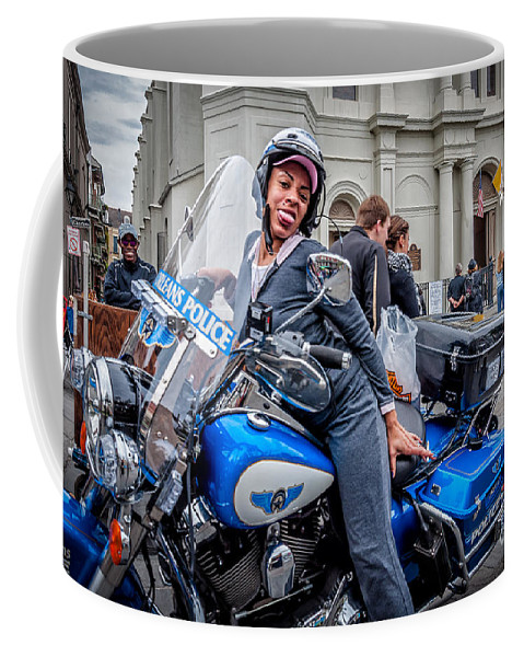 Motorcycle Coffee Mug featuring the photograph Not-a-cop In Jackson Square Nola by Kathleen K Parker
