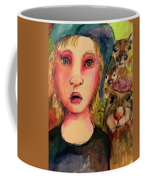 Girl Coffee Mug featuring the mixed media Not Invited by Cynthia Richards