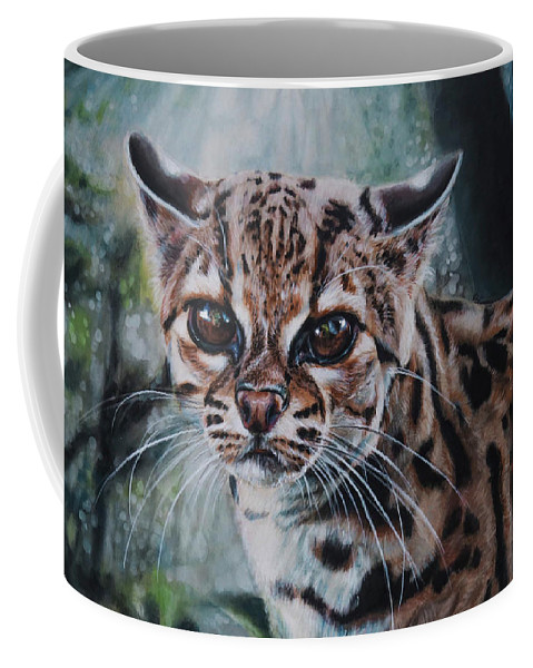 Margay Coffee Mug featuring the painting Not Today by Lachri