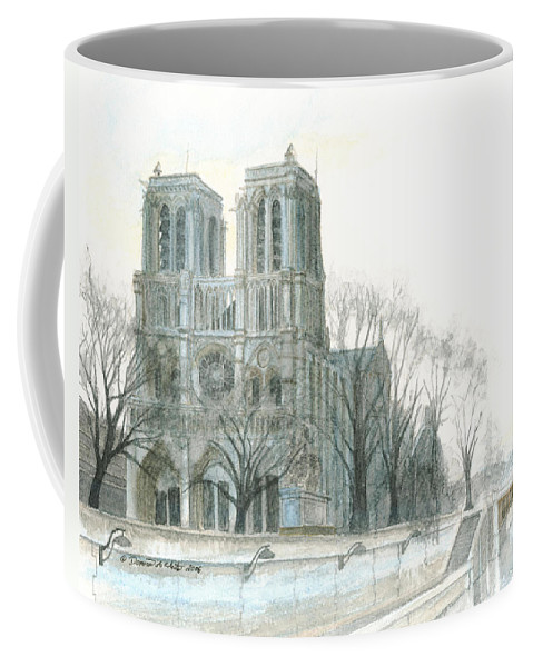 Notre Dame Coffee Mug featuring the painting Notre Dame Cathedral In March by Dominic White