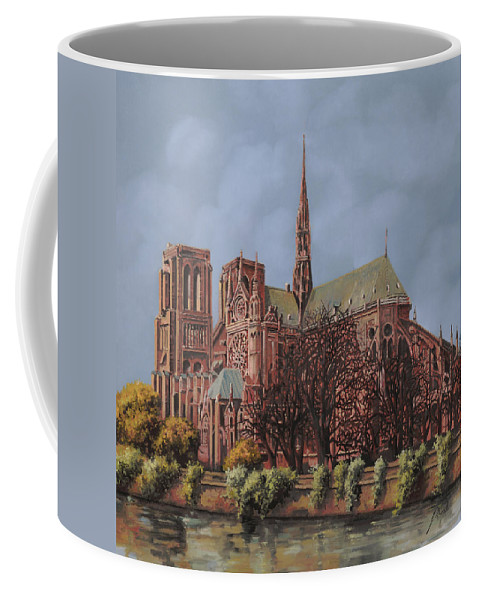 Paris Coffee Mug featuring the painting Notre-dame by Guido Borelli