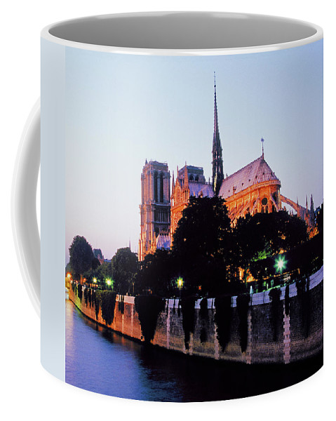 Notre Coffee Mug featuring the photograph Notre Dame On The Seine by Buddy Mays