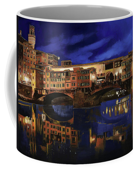 Firenze Coffee Mug featuring the painting Notturno Fiorentino by Guido Borelli