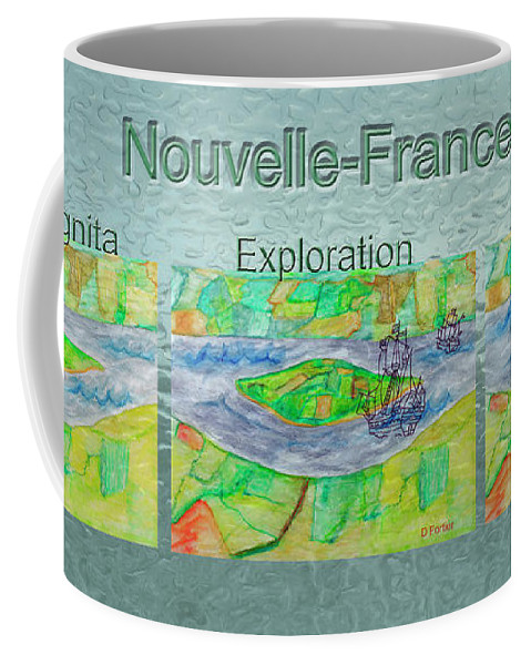 New France Coffee Mug featuring the mixed media Nouvelle-france Mug Shot by Dominique Fortier