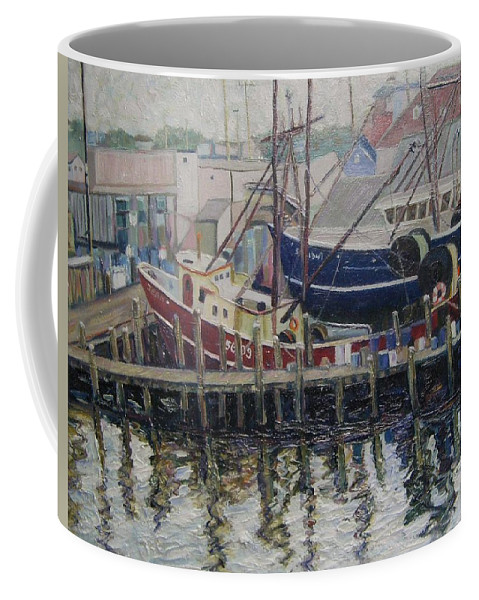 Boats Coffee Mug featuring the painting Nova Scotia Boats At Rest by Richard Nowak