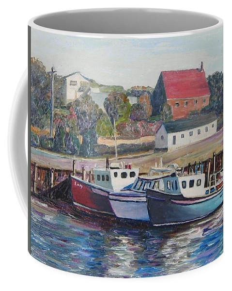 Nova Scotia Coffee Mug featuring the painting Nova Scotia Boats by Richard Nowak