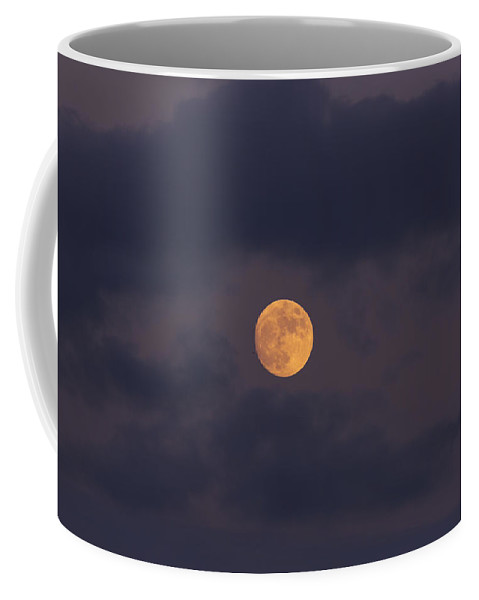 November Coffee Mug featuring the photograph November Full Moon With Plane by Angela Stanton
