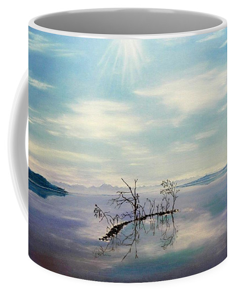 Late Novemeber In Bavaria Coffee Mug featuring the painting November on a bavarian lake by Helmut Rottler
