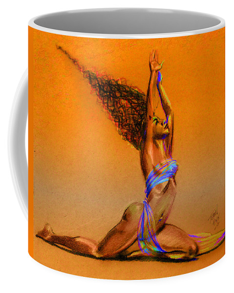 Hair Coffee Mug featuring the drawing Nrg Sunset by Terri Meredith