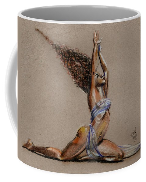 Hair Coffee Mug featuring the drawing NRG by Terri Meredith
