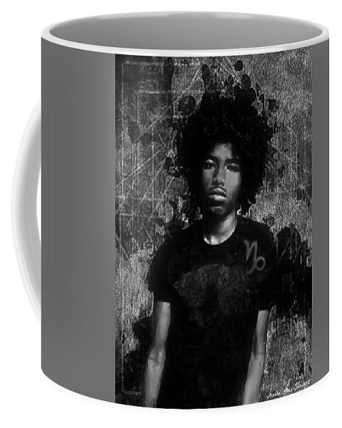 Portrait Coffee Mug featuring the photograph Ntr Rockstar Black And White by Iowan Stone-Flowers