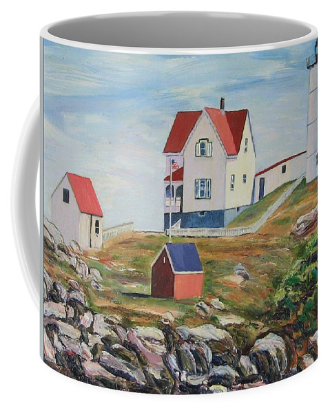Nubble Light House Coffee Mug featuring the painting Nubble Light House Maine by Richard Nowak