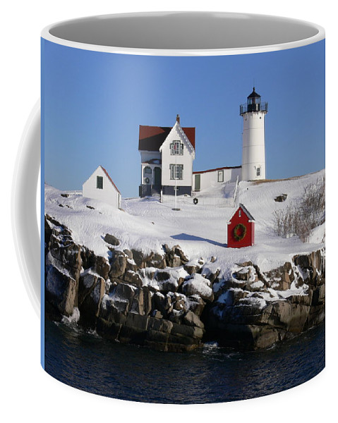 Nubbles Lighthouse Coffee Mug featuring the photograph Nubbles Lighthouse by Nancie DeMellia