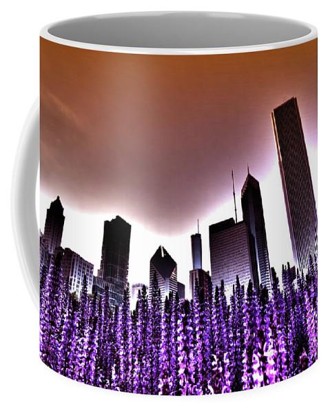 Purple Flowers Coffee Mug featuring the photograph Nuclear Chicago Skyline by Sven Brogren