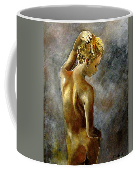 Girl Nude Coffee Mug featuring the painting Nude 27 by Pol Ledent
