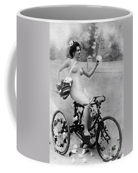 1900 Coffee Mug featuring the photograph Nude And Bicycle, C1900 by Granger
