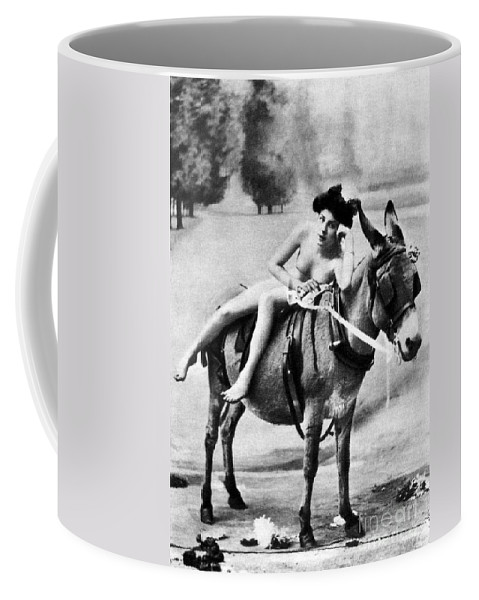 1900 Coffee Mug featuring the photograph Nude And Donkey, C1900 by Granger
