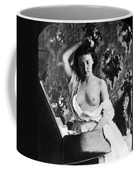1861 Coffee Mug featuring the photograph Nude Fixing Hair, C1861 by Granger