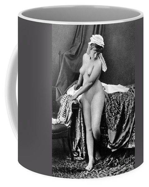 1885 Coffee Mug featuring the photograph Nude In Bonnet, C1885 by Granger